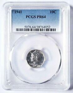 1941-P PCGS PR64 MERCURY DIME BLAST WHITE PROOF BEAUTIFUL NICE COIN!