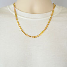 24K Yellow Gold Plated Curb Chain 5mm Cuban Style Link Men's Necklace 18 Inches