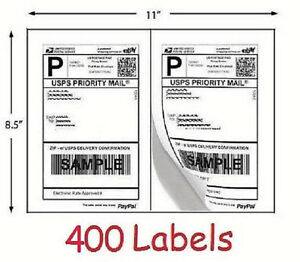 400 Shipping Labels 200 Sheets Blank White Self Adhesive eBay USPS Postage Print