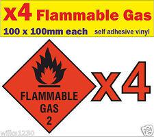 4x gas infiammabile CAMPER BARCA AUTO FURGONE simbolo di avvertimento Decalcomania Adesivi CASA MOBILE