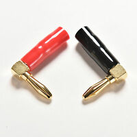 New 2X Right Angle Banana Plug  Gold Plated Speak Cable Connector Screw FG