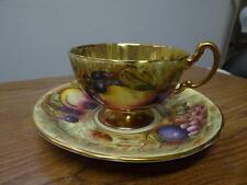 Beautiful Vintage Aynsley Bone China Orchard Fruit Cup and Saucer with Gold