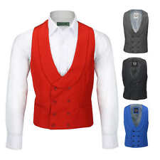 Mens Double Breasted Shawl Lapel Waistcoat Tailored Smart Wedding Dress Tux Vest