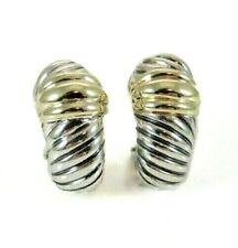 David Yurman 14K & Sterling Thoroughbred Shrimp Cable Pierced Earrings