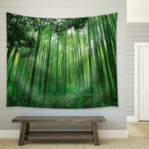 wall26 - Leaves Framing a Bamboo Forest - Wall Fabric Tapestry- 68x80 inches