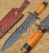 UD RARE CUSTOM DAMASCUS STEEL HUNTING BOWIE DAGGER KNIFE CAMEL BONE HANDLE -8347