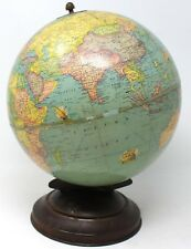 "1940 Rand McNally  9"" Indexed Terrestrial Art Globe Vintage/Antique"