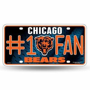 NEW 2 x Rico NFL Chicago Bears Number One Fan License Plates FREE 1st cls S&H