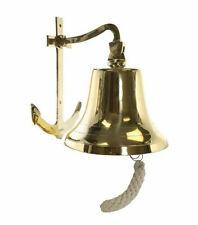 """Solid Brass Ships Bell 6"""" Anchor Bracket Nautical Maritime Wall Art Decor New"""