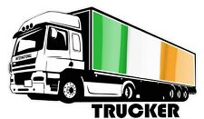 International Trucker Lorry Driver & Ireland Irish IRL Flag car truck sticker