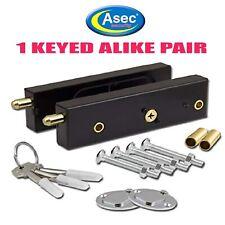 GARAGE DOOR BOLTS LOCKS ASEC HIGH SECURITY PAIR QUALITY KEYED ALIKE C/W 3 KEYS