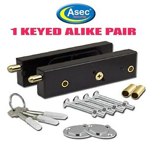 GARAGE DOOR BOLTS LOCKS ASEC HIGH SECURITY PAIR QUALITY KEYED ALIKE C/W 3 KEYS