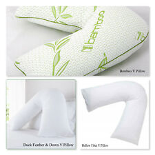 Hollow Fiber, Duck Feather, Bamboo V Pillow Orthopedic Back&Neck Support Pillow