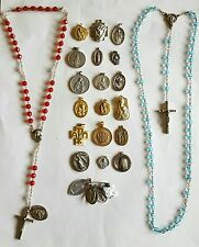 Vintage Estate Lot of 25 Catholic Religious Rosaries Medals Charms