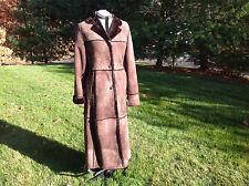 Hide Society Biala Pelle Genuine Canada sheepskin brown long shearling coat sz12