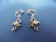 NEW TIBETAN SILVER 2-SIDED CLIP-ON DRAGON (GAME OF THRONES) EARRINGS