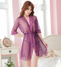 Sexy Women Purple Lingerie Lace Robe Babydoll Dress Sleepwear+G-string Size L