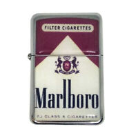 Lighter Marlboro red Silver Refillable Windproof Oil Petrol Lighter FlipTop