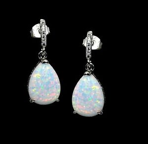 Stunning White Opal Earrings Pear Shaped 10X14mm Cabochon .925 Sterling Silver