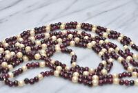 "Antique Victorian Long Opera Length Garnet Pearl Bead Necklace 62"""