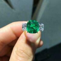 4.50Ct Cushion Cut Green Emerald Three-Stone Ring Solid 14K White Gold Finish