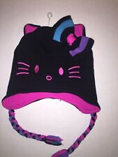 Hello Kitty by Sanrio GirlS Hat Beanie Cap with Cat Ears Design Black OneSize