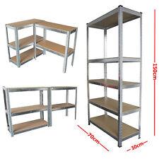 2 or 5 Tier Metal Shelving Industrial Boltless Racking Garage Heavy Duty Shelf