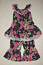 Girls size 5 Vintage Boutique Floral Ruffled Dress & Capri Pants Outfit