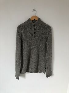 White Stuff Grey Spec Knit Pullover Wool Blend Quarter 1/4 Button Size Small