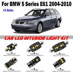 18pcs White LED Interior Light Kit For BMW 5 Series E61 Touring 2004-2010 Lamps