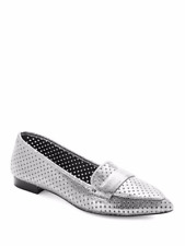 Donald J Pliner Ava Pointed Toe Metallic Loafers, Silver, 7.5M New/Display