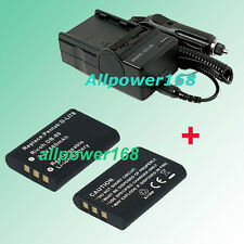 Battery + Charger For FE-370 PENTAX Optio L50 M50 M60 Rechargeable Lithium-ion