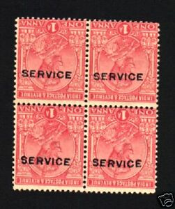 INDIA 1 ANNA 1911 KING GEORGE ERROR over print Inverted SERVICE MINT Stamp BLOCK