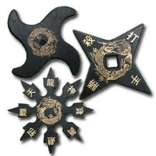 SET of 3 Traditional Design Ninja Rubber Practice THROWING STARS Shuriken