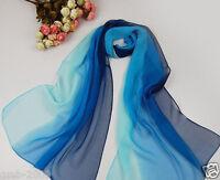 New Fashion Women's Blue Gradient Color Chiffon Soft Long Stole Shawl Wrap Scarf