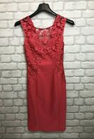 LIPSY LONDON LADIES DRESS SIZE 8 HOT PINK CROCHET FLORAL PARTY WEDDING SUMMER