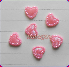 200 Pink FLAT BACK  PEARL HEARTS CARD MAKING SCRAPBOOK, WEDDING