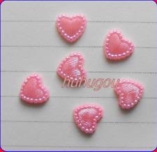 200 Pink FLAT BACK  PEARL HEARTS CARD MAKING SCRAPBOOK, WEDDING  O