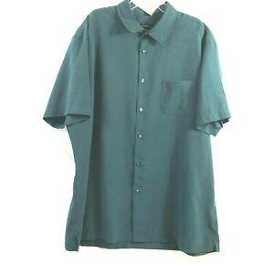 VanHeusen Mens Checked Casual Dress Shirt XL 17 17 1/2 Green Short Sleeve