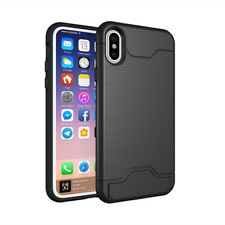 For iPhone X 6 7 8 Plus Slim Case With Kickstand ID Credit Card Hard Armor Cover