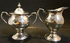 Antique Lehman Brothers Silver On Copper Pedestal Creamer & Sugar Bowl Excellent