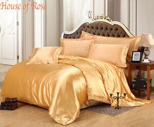 NEW LUXURY Gold Color 600-800-1000-1200 TC UK Super Soft Satin Silk Duvet/Sheet
