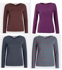 Seasalt Women Round Neck Organic Cotton Long Sleeve Striped T shirt Top Blouse