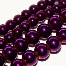 "MAGNETIC HEMATITE BEADS AMETHYST PURPLE PLATED 6MM ROUND 16""STRANDS H21"