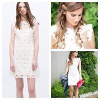 Zara White Guipure Lace Dress Size S Broderie Anglais Crochet Summer Wedding New