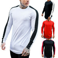 Mens Casual Long Sleeve Shirt Gym Sports Slim Fit Muscle Tee Top Striped T-Shirt