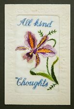 WW1 Silk Postcard All Kind Thoughts Murdoch Dumfries Scotland