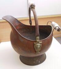 Vintage Copper & Brass Lion Head Coal Fireplace Ash Scuttle Bucket Delft Handles