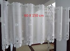 White Flower Great Embroidered Home Decorate Kitchen Lace Sheer Cafe Curtain 150 Width X 60 Drop Cm