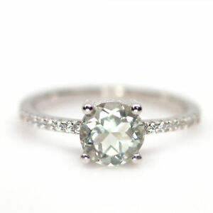NATURAL 7 mm. GREEN AMETHYST & WHITE CZ 925 STERLING SILVER RING SZ 7